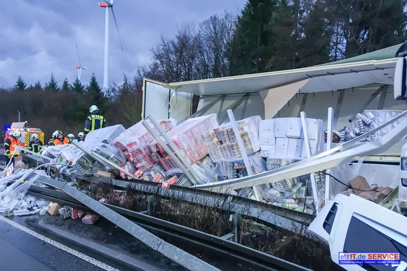 28.01. 07:41 TH nach Lkw-Unfall, A 3 Fahrtrichtung Köln