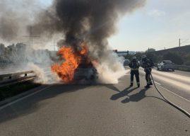 Pkw-Brand nach Hochgeschwindigkeitsunfall auf der Autobahn
